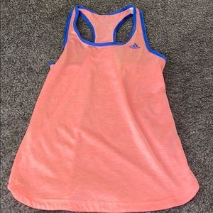Adidas orange work out tank top